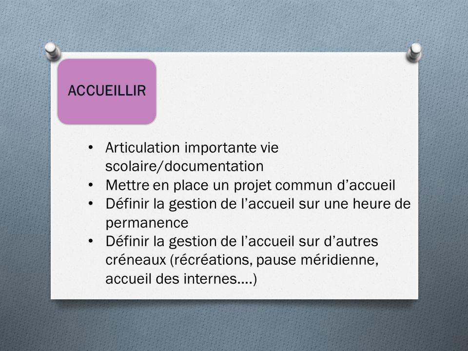 ACCUEILLIR Articulation importante vie scolaire/documentation Mettre en place un projet commun d'accueil Définir la gestion de l'accueil sur une heure