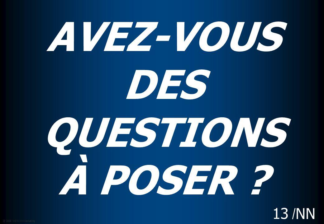 / NN © 2008 WOW-WWWarketing 13 AVEZ-VOUS DES QUESTIONS À POSER ?
