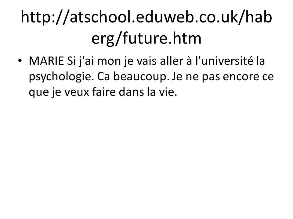 http://atschool.eduweb.co.uk/hab erg/future.htm MARIE Si j'ai mon je vais aller à l'université la psychologie. Ca beaucoup. Je ne pas encore ce que je