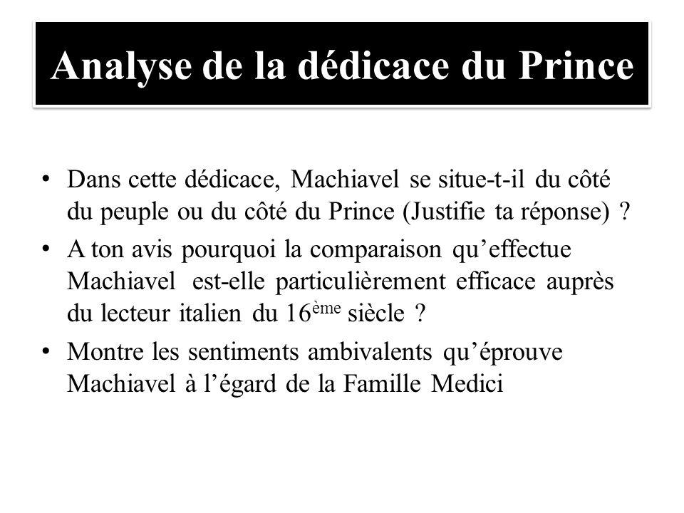 Analyse de la dédicace du Prince Dans cette dédicace, Machiavel se situe-t-il du côté du peuple ou du côté du Prince (Justifie ta réponse) ? A ton avi