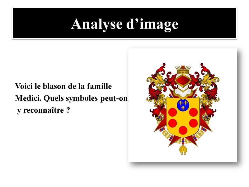 Analyse d'image Voici le blason de la famille Medici. Quels symboles peut-on y reconnaître ?