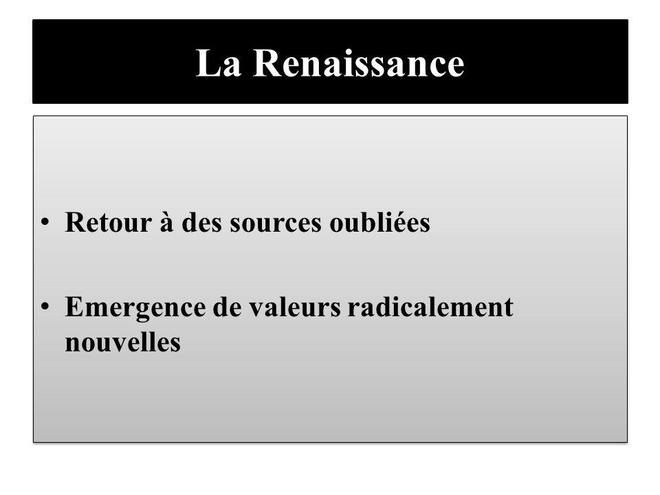 La Renaissance Retour à des sources oubliées Emergence de valeurs radicalement nouvelles Retour à des sources oubliées Emergence de valeurs radicaleme