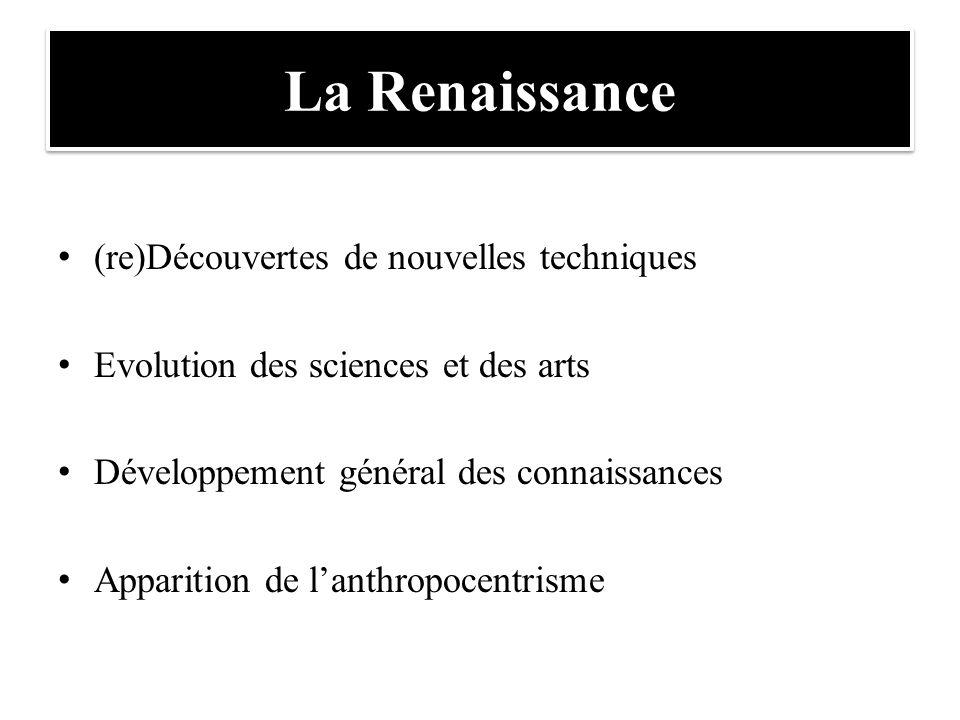 La Renaissance (re)Découvertes de nouvelles techniques Evolution des sciences et des arts Développement général des connaissances Apparition de l'anth