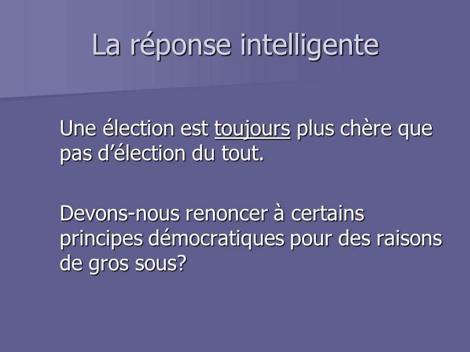 La réponse intelligente Une élection est toujours plus chère que pas d'élection du tout. Devons-nous renoncer à certains principes démocratiques pour