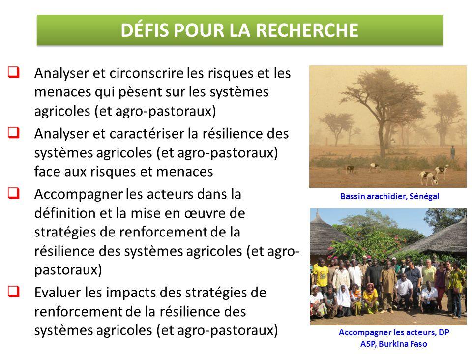  Analyser et circonscrire les risques et les menaces qui pèsent sur les systèmes agricoles (et agro-pastoraux)  Analyser et caractériser la résilien