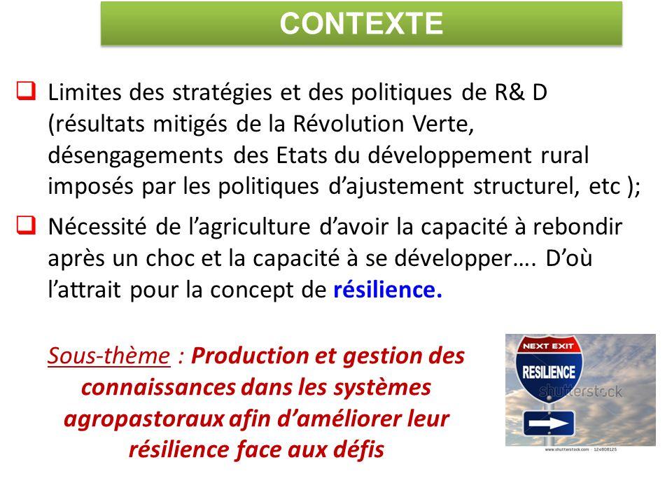  Limites des stratégies et des politiques de R& D (résultats mitigés de la Révolution Verte, désengagements des Etats du développement rural imposés par les politiques d'ajustement structurel, etc );  Nécessité de l'agriculture d'avoir la capacité à rebondir après un choc et la capacité à se développer….