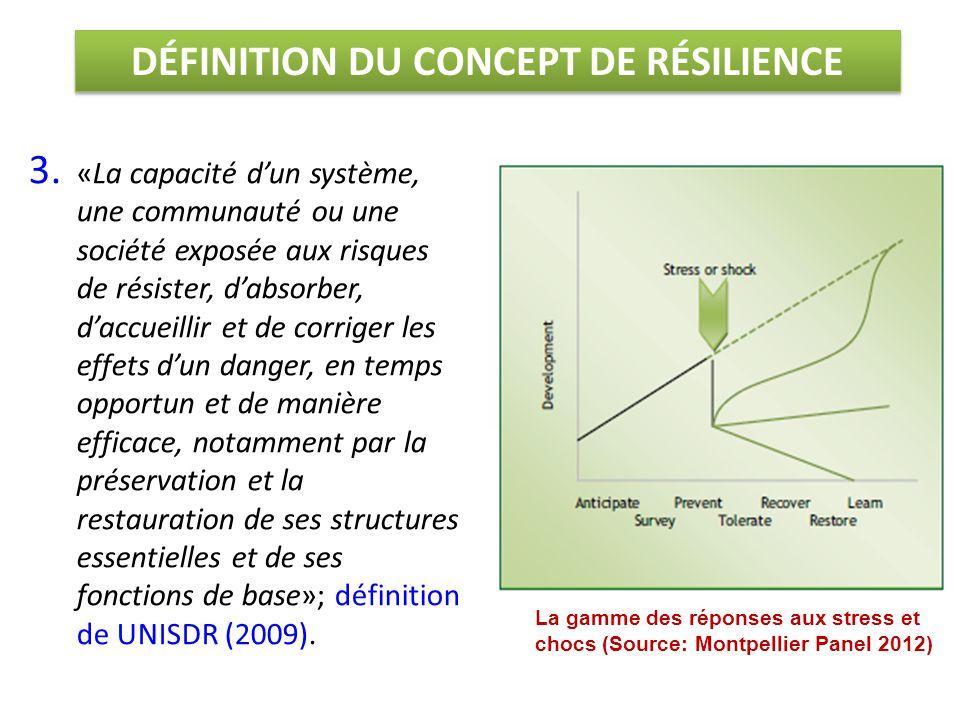 3. «La capacité d'un système, une communauté ou une société exposée aux risques de résister, d'absorber, d'accueillir et de corriger les effets d'un d