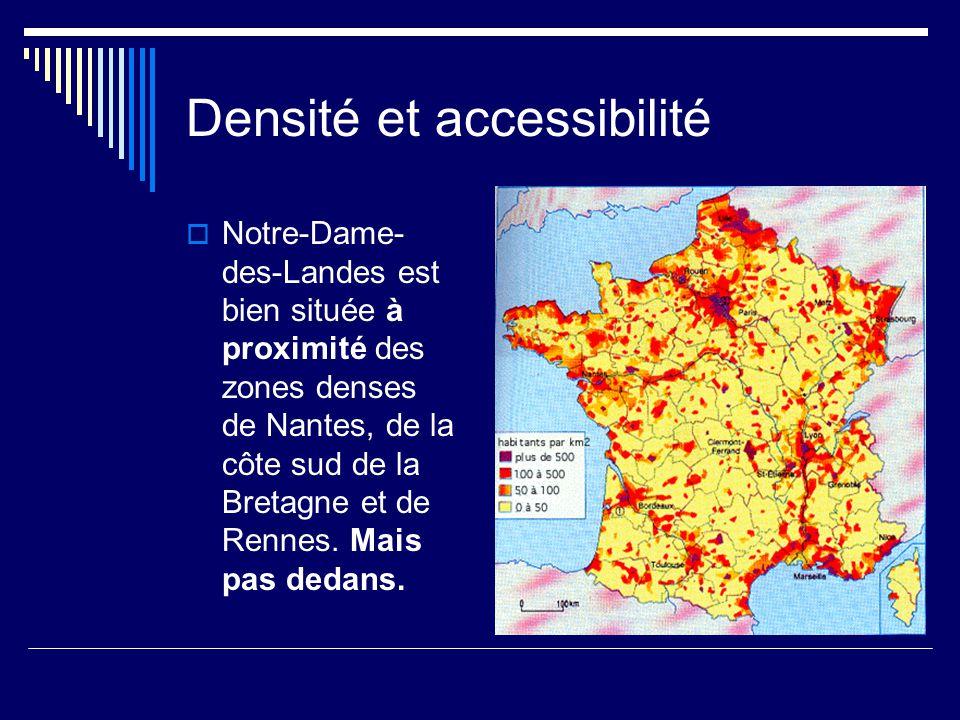 Densité et accessibilité  Notre-Dame- des-Landes est bien située à proximité des zones denses de Nantes, de la côte sud de la Bretagne et de Rennes.
