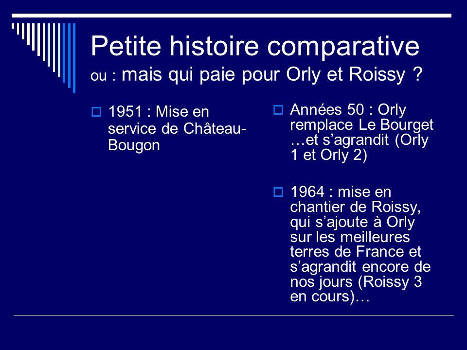 Petite histoire comparative ou : mais qui paie pour Orly et Roissy .