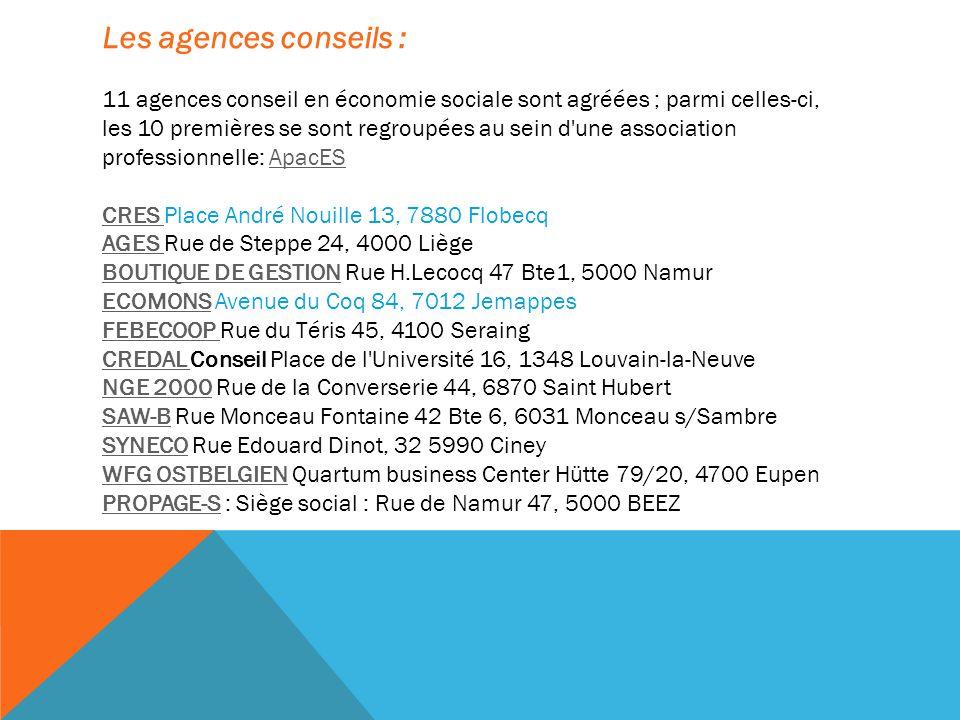 Les agences conseils : 11 agences conseil en économie sociale sont agréées ; parmi celles-ci, les 10 premières se sont regroupées au sein d une association professionnelle: ApacESApacES CRES CRES Place André Nouille 13, 7880 Flobecq AGES AGES Rue de Steppe 24, 4000 Liège BOUTIQUE DE GESTIONBOUTIQUE DE GESTION Rue H.Lecocq 47 Bte1, 5000 Namur ECOMONSECOMONS Avenue du Coq 84, 7012 Jemappes FEBECOOP FEBECOOP Rue du Téris 45, 4100 Seraing CREDAL CREDAL Conseil Place de l Université 16, 1348 Louvain-la-Neuve NGE 2000NGE 2000 Rue de la Converserie 44, 6870 Saint Hubert SAW-BSAW-B Rue Monceau Fontaine 42 Bte 6, 6031 Monceau s/Sambre SYNECOSYNECO Rue Edouard Dinot, 32 5990 Ciney WFG OSTBELGIENWFG OSTBELGIEN Quartum business Center Hütte 79/20, 4700 Eupen PROPAGE-SPROPAGE-S : Siège social : Rue de Namur 47, 5000 BEEZ