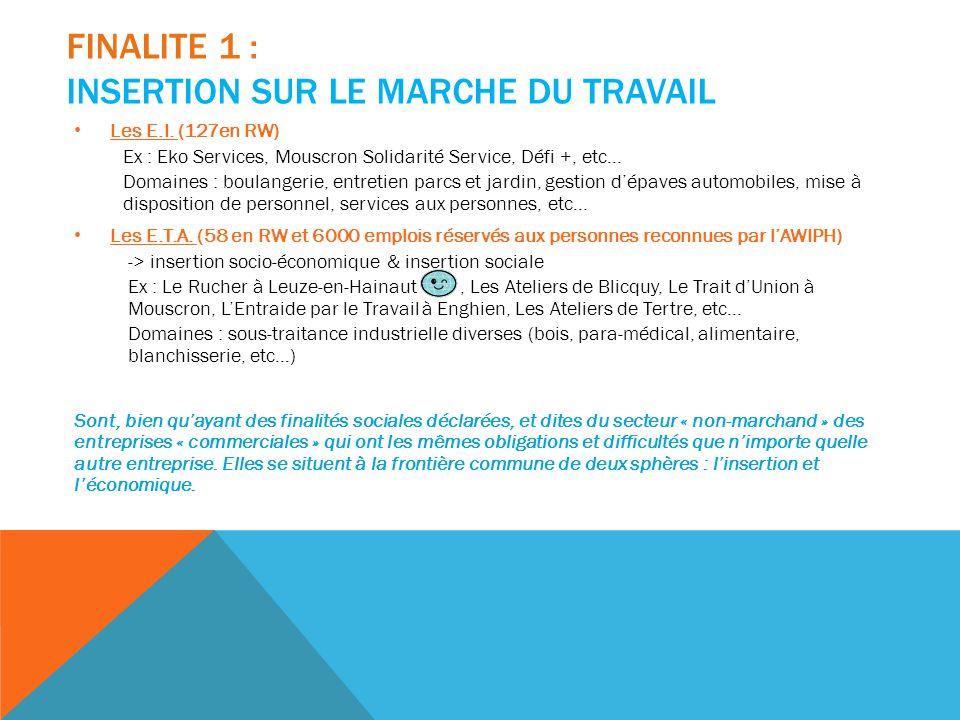 FINALITE 1 : INSERTION SUR LE MARCHE DU TRAVAIL Les E.I. (127en RW) Ex : Eko Services, Mouscron Solidarité Service, Défi +, etc… Domaines : boulangeri