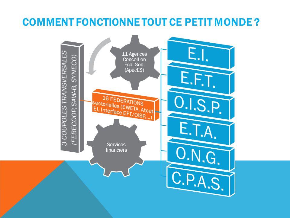 COMMENT FONCTIONNE TOUT CE PETIT MONDE ? Services financiers 11 Agences Conseil en Eco. Soc. (ApacES)