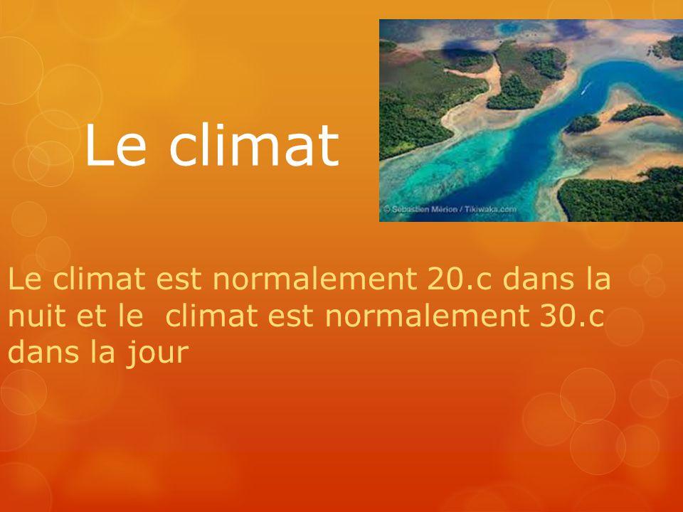 Le climat Le climat est normalement 20.c dans la nuit et le climat est normalement 30.c dans la jour