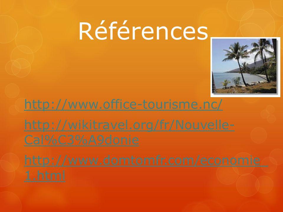 Références http://www.office-tourisme.nc/ http://wikitravel.org/fr/Nouvelle- Cal%C3%A9donie http://www.domtomfr.com/economie_ 1.html