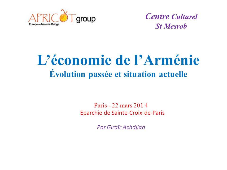 L'économie de l'Arménie Évolution passée et situation actuelle Paris - 22 mars 201 4 Eparchie de Sainte-Croix-de-Paris Par Giraïr Achdjian Centre Cult