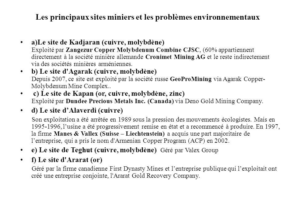 Les principaux sites miniers et les problèmes environnementaux a)Le site de Kadjaran (cuivre, molybdène) Exploité par Zangezur Copper Molybdenum Combi