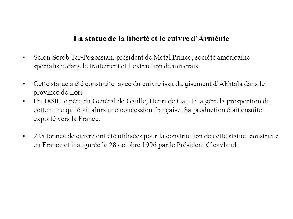 La statue de la liberté et le cuivre d'Arménie Selon Serob Ter-Pogossian, président de Metal Prince, société américaine spécialisée dans le traitement