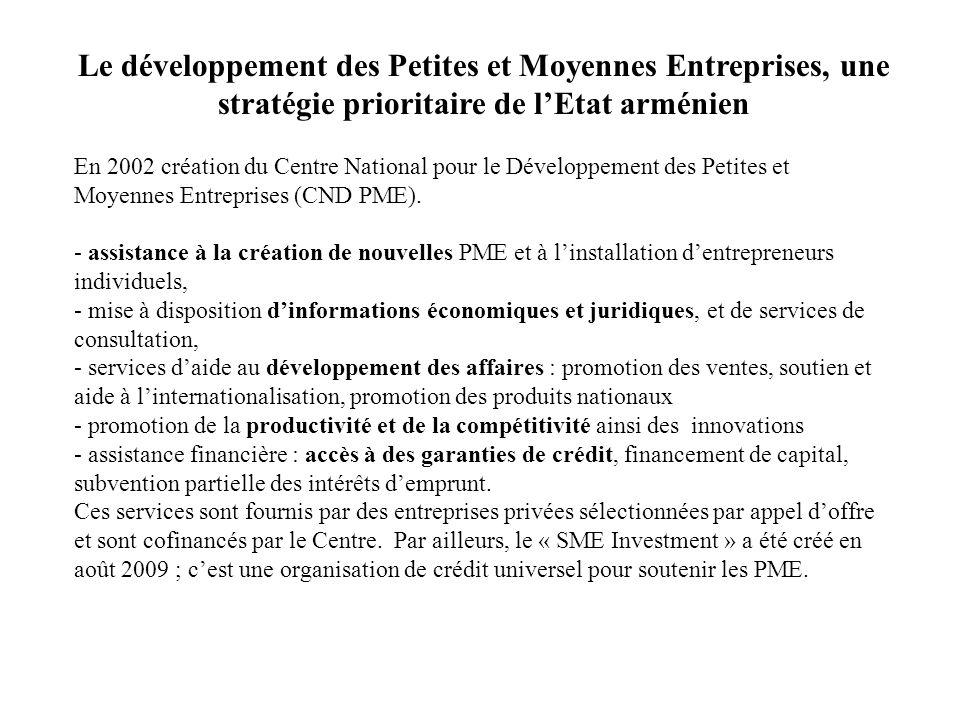 Le développement des Petites et Moyennes Entreprises, une stratégie prioritaire de l'Etat arménien En 2002 création du Centre National pour le Dévelop