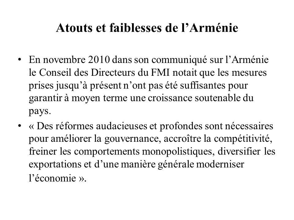 Atouts et faiblesses de l'Arménie En novembre 2010 dans son communiqué sur l'Arménie le Conseil des Directeurs du FMI notait que les mesures prises ju