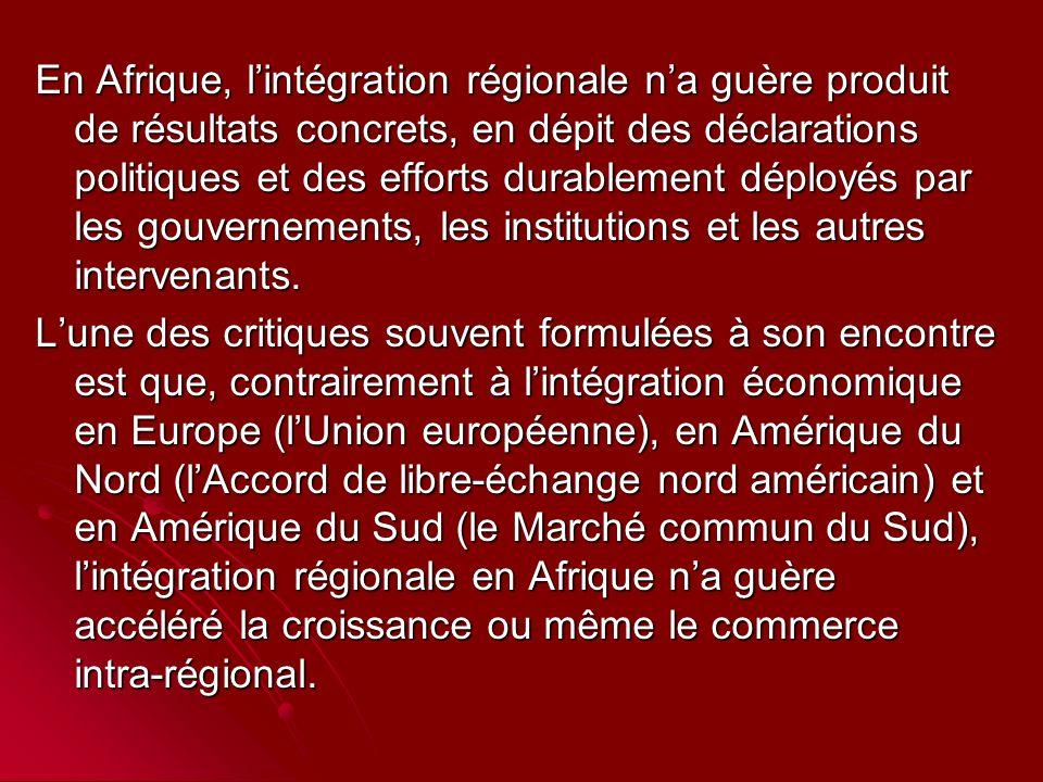 En Afrique, l'intégration régionale n'a guère produit de résultats concrets, en dépit des déclarations politiques et des efforts durablement déployés par les gouvernements, les institutions et les autres intervenants.