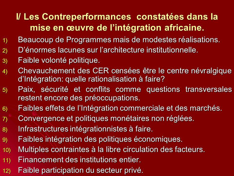 I/ Les Contreperformances constatées dans la mise en œuvre de l'intégration africaine.