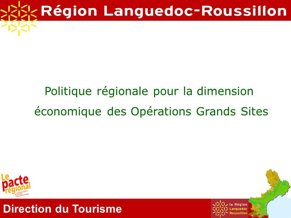 Direction du Tourisme Les OGS territoires d'excellence Répartis sur l 'ensemble du territoire Emblématiques de la diversité de la Région Avec une gouvernance structurée Fortement fréquentés par les visiteurs 4 millions d'euros entre 2005 et 2011 investis par la Région sur les OGS