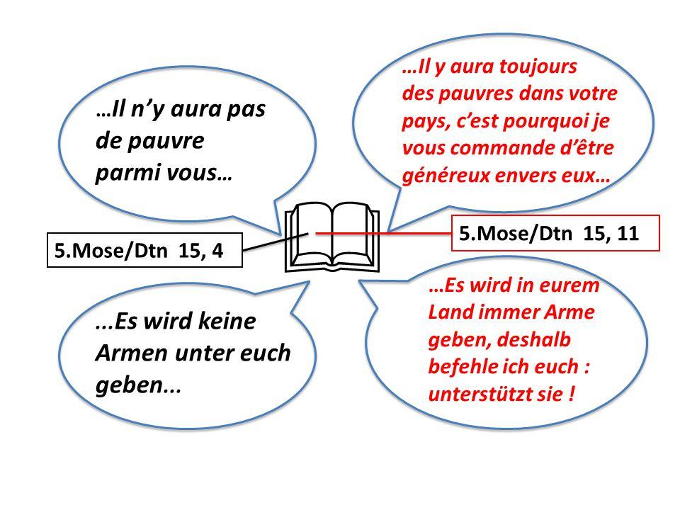 … Il n'y aura pas de pauvre parmi vous …... Es wird keine Armen unter euch geben...  5.Mose/Dtn 15, 4 5.Mose/Dtn 15, 11 …Es wird in eurem Land immer