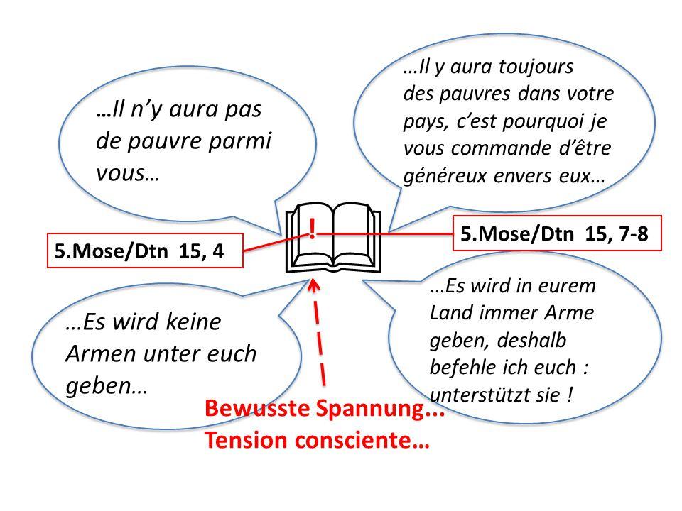 … Il n'y aura pas de pauvre parmi vous …... Es wird keine Armen unter euch geben...  5.Mose/Dtn 15, 4 5.Mose/Dtn 15, 7-8 ! Bewusste Spannung... Tensi