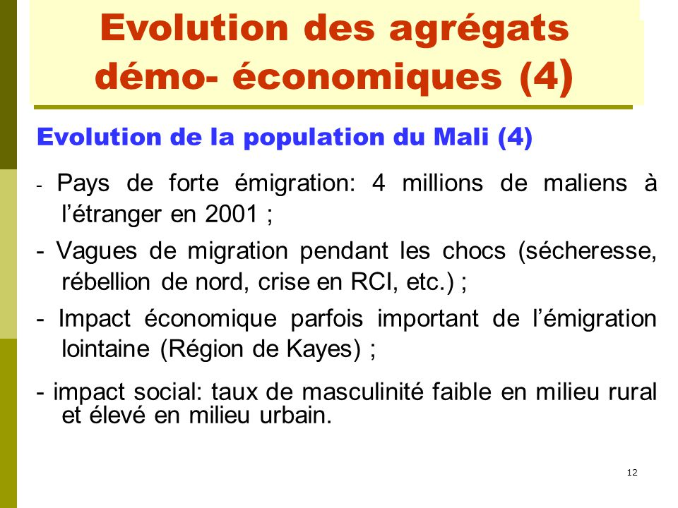 12 Evolution de la population du Mali (4) - Pays de forte émigration: 4 millions de maliens à l'étranger en 2001 ; - Vagues de migration pendant les c