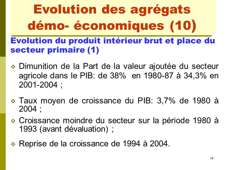 18 Evolution des agrégats démo- économiques (2) Evolution du produit intérieur brut et place du secteur primaire (1)  Dimunition de la Part de la val