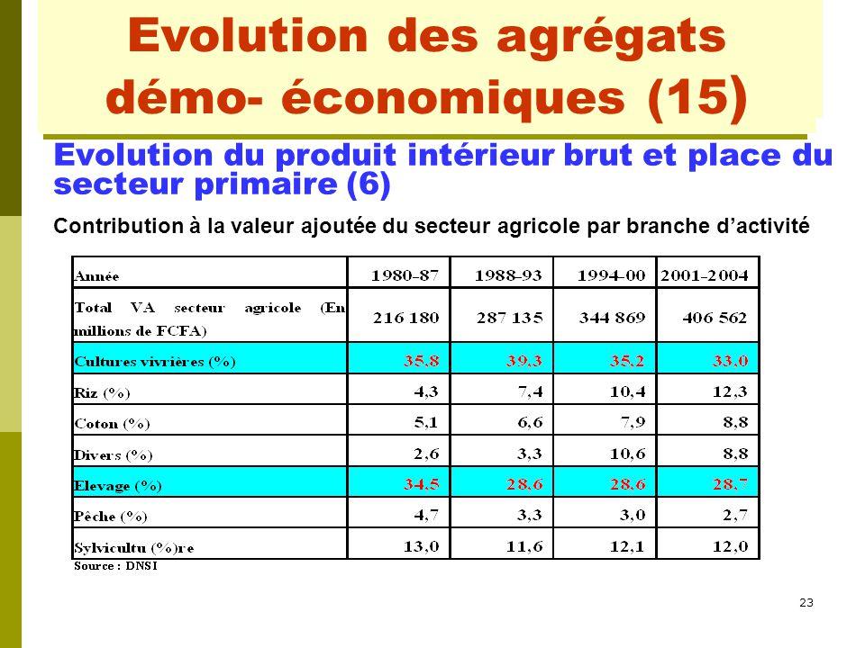 23 Evolution des agrégats démo- conomiques (2) Evolution du produit intérieur brut et place du secteur primaire (6) Contribution à la valeur ajoutée d