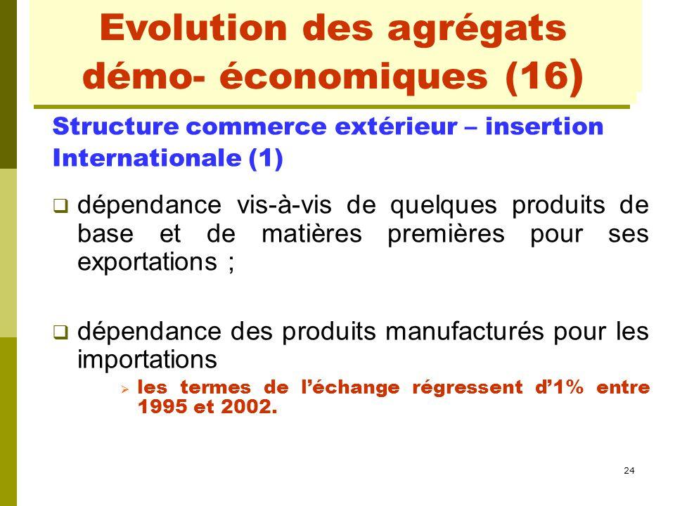 24 Evolution des agrégats démo- économiques (3) Structure commerce extérieur – insertion Internationale (1)  dépendance vis-à-vis de quelques produit