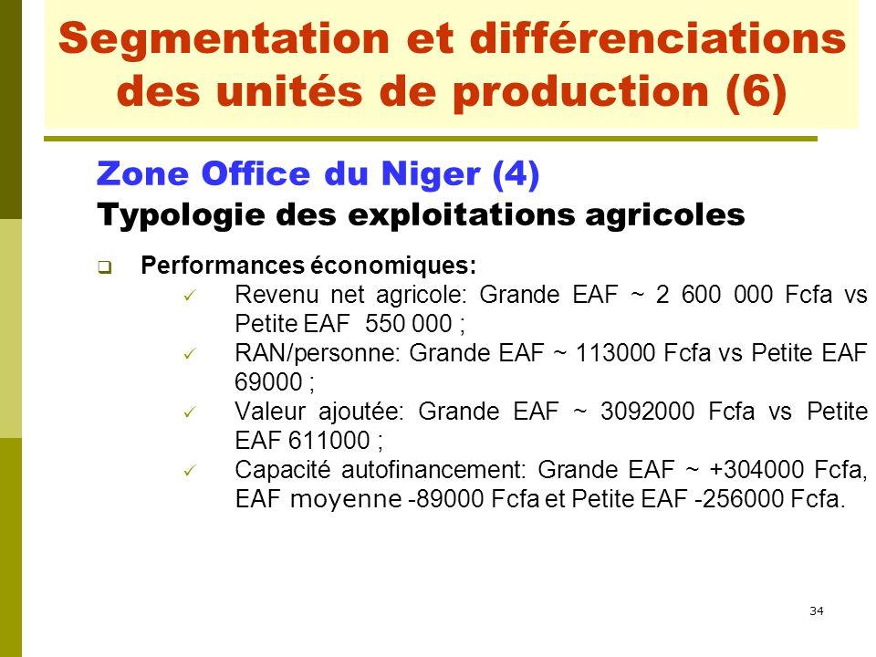 34 Segmentation et différenciations des unités de production Zone Office du Niger (4) Typologie des exploitations agricoles  Performances économiques