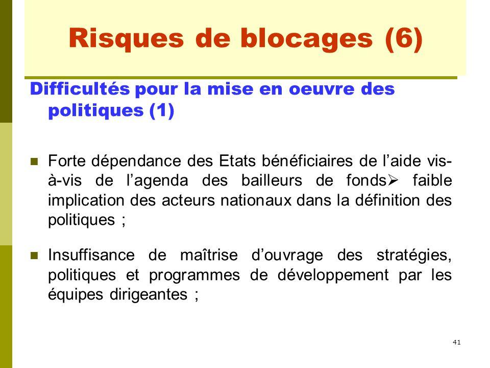 41 Risques de blocages (2) Difficultés pour la mise en oeuvre des politiques (1) Forte dépendance des Etats bénéficiaires de l'aide vis- à-vis de l'ag