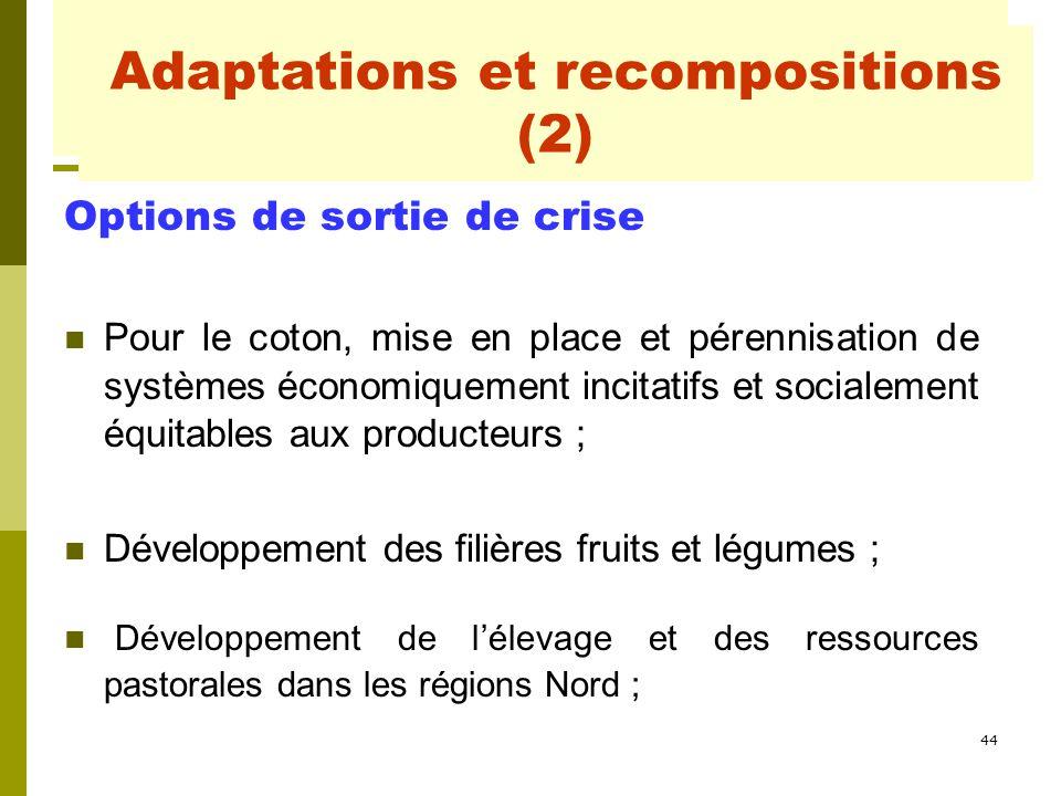 44 Adaptations et recompositions Options de sortie de crise Pour le coton, mise en place et pérennisation de systèmes économiquement incitatifs et soc
