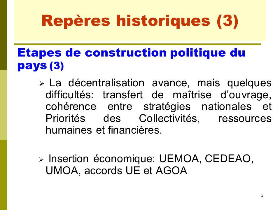 5 Repères historiques (3)  La décentralisation avance, mais quelques difficultés: transfert de maîtrise d'ouvrage, cohérence entre stratégies nationa