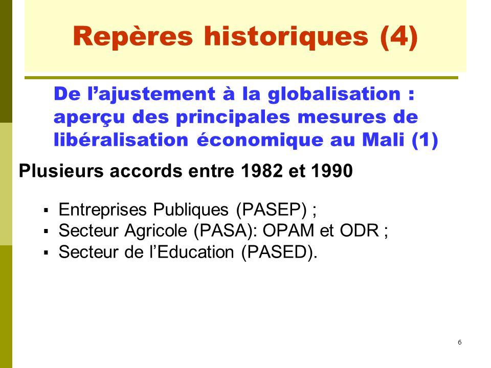 7 Repères historiques (5) Trois grandes étapes d'ajustement et de libéralisation :  1980-1990 : programme PRMC, libéralisation totale des prix du paddy et du riz en 1990.