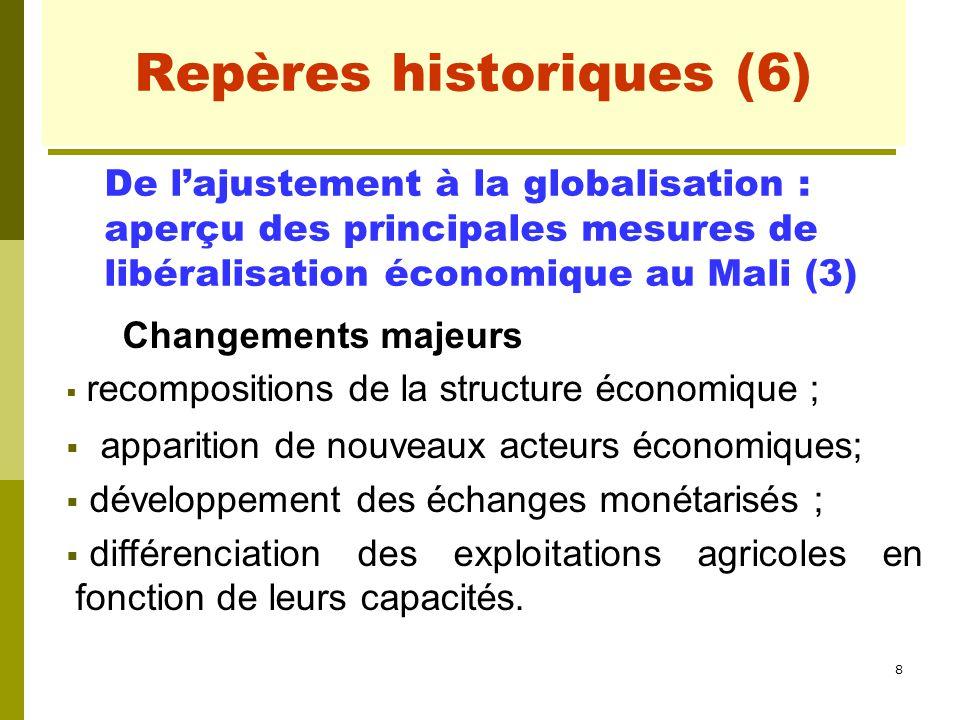 8 Repères historiques (6) Changements majeurs  recompositions de la structure économique ;  apparition de nouveaux acteurs économiques;  développem