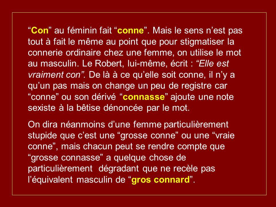 Le mot con se décline de diverses manières : il y a le connot (ou conneau) qui renvoie à un personnage tenant du ''plouc''.