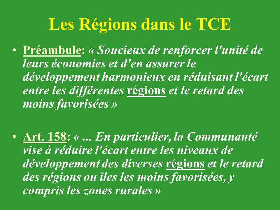 Les Régions dans le TCE Préambule: « Soucieux de renforcer l'unité de leurs économies et d'en assurer le développement harmonieux en réduisant l'écart
