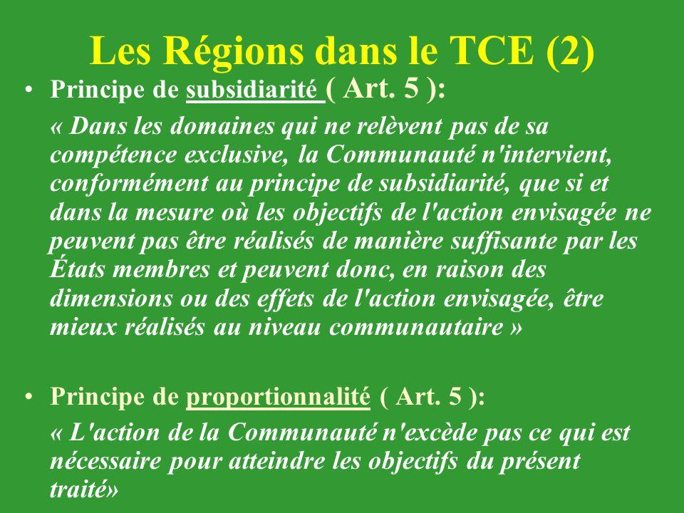 Les Régions dans le TCE (2) Principe de subsidiarité ( Art. 5 ): « Dans les domaines qui ne relèvent pas de sa compétence exclusive, la Communauté n'i