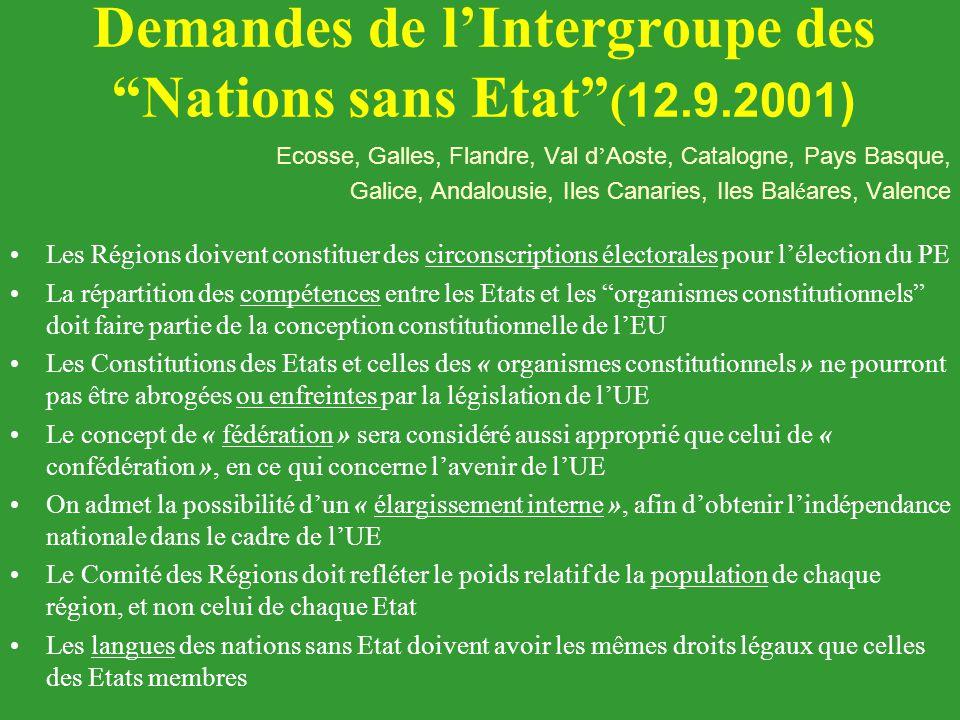 """Demandes de l'Intergroupe des """"Nations sans Etat"""" ( 12.9.2001) Ecosse, Galles, Flandre, Val d ' Aoste, Catalogne, Pays Basque, Galice, Andalousie, Ile"""