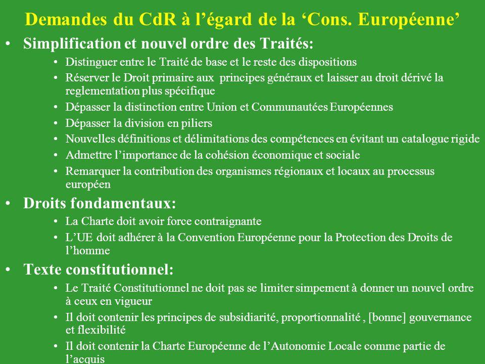 Demandes du CdR à l'égard de la 'Cons. Européenne' Simplification et nouvel ordre des Traités: Distinguer entre le Traité de base et le reste des disp