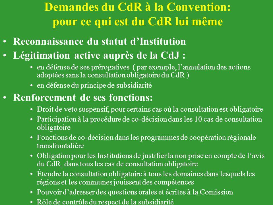 Demandes du CdR à la Convention: pour ce qui est du CdR lui même Reconnaissance du statut d'Institution Légitimation active auprès de la CdJ : en défe