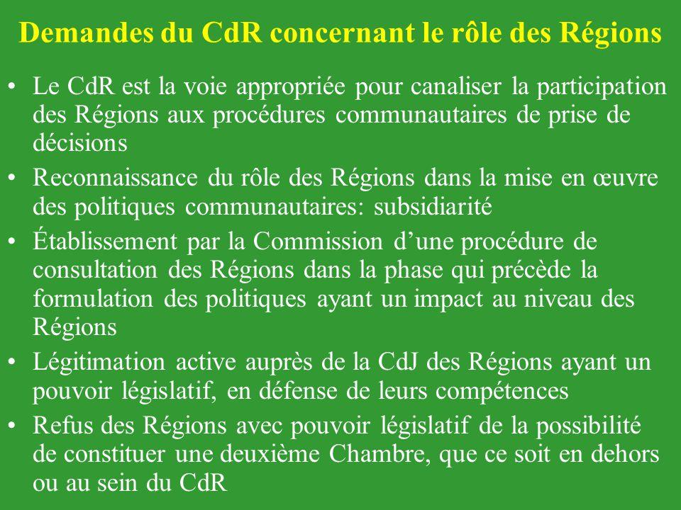 Demandes du CdR concernant le rôle des Régions Le CdR est la voie appropriée pour canaliser la participation des Régions aux procédures communautaires