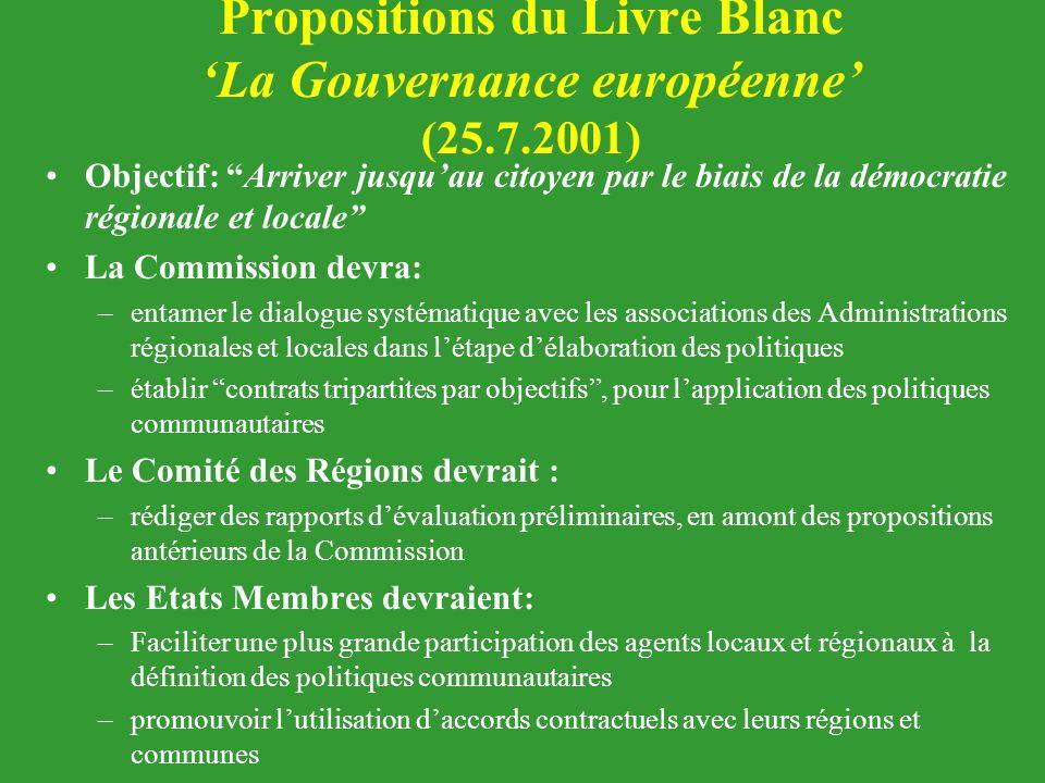 """Propositions du Livre Blanc 'La Gouvernance européenne' (25.7.2001) Objectif: """"Arriver jusqu'au citoyen par le biais de la démocratie régionale et loc"""