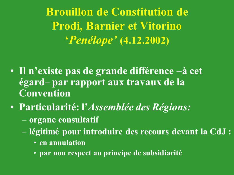 Brouillon de Constitution de Prodi, Barnier et Vitorino 'Penélope' (4.12.2002) Il n'existe pas de grande différence –à cet égard– par rapport aux trav