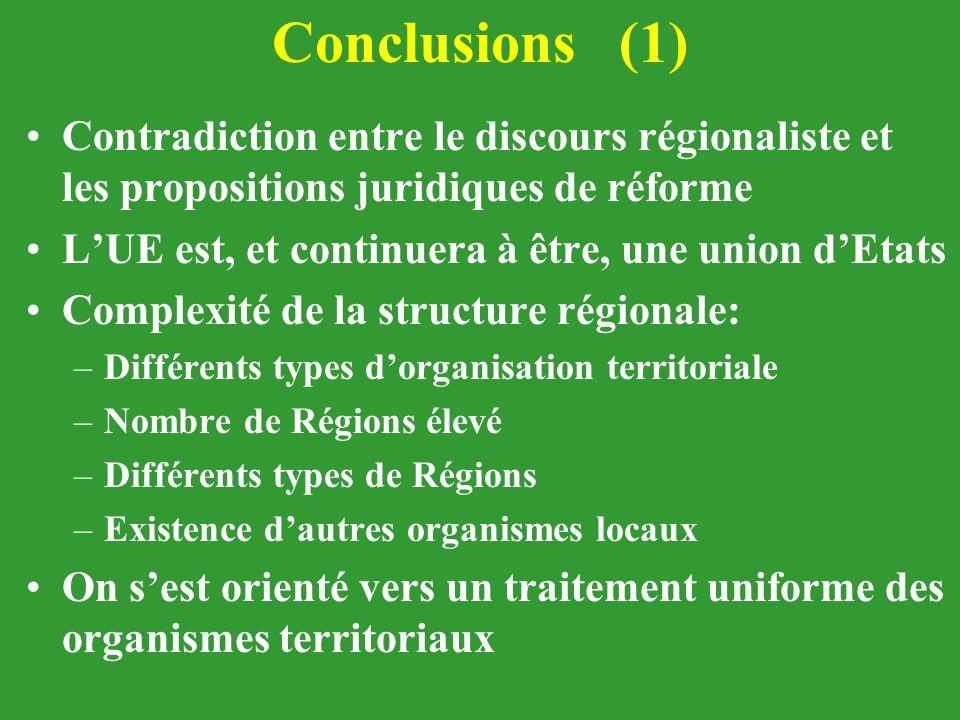 Conclusions (1) Contradiction entre le discours régionaliste et les propositions juridiques de réforme L'UE est, et continuera à être, une union d'Eta