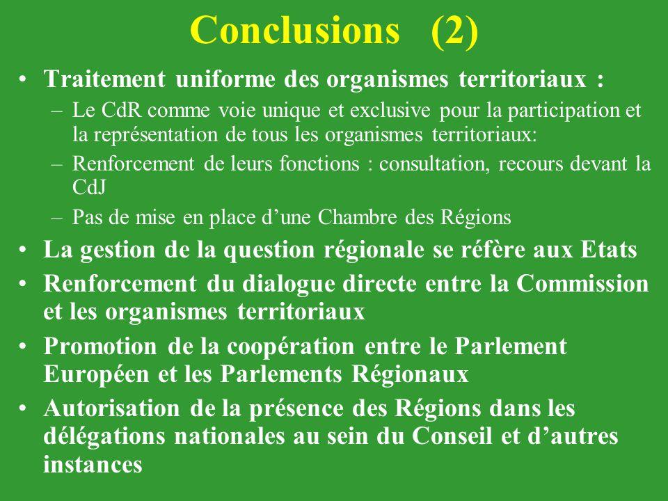 Conclusions (2) Traitement uniforme des organismes territoriaux : –Le CdR comme voie unique et exclusive pour la participation et la représentation de