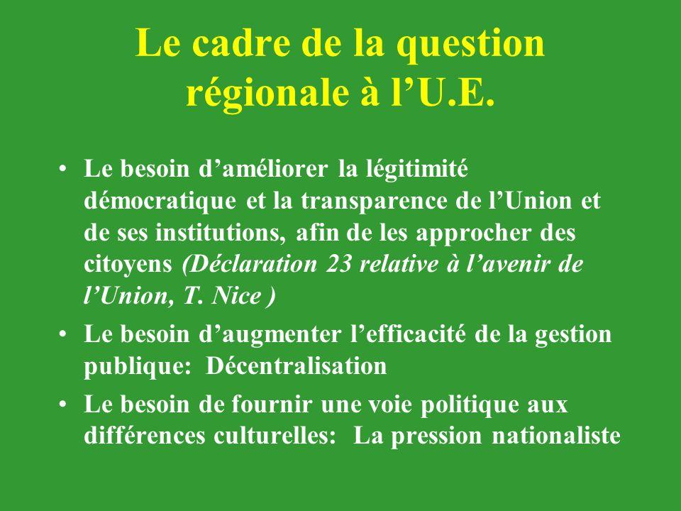 Le cadre de la question régionale à l'U.E. Le besoin d'améliorer la légitimité démocratique et la transparence de l'Union et de ses institutions, afin